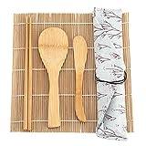 9Pcs Bamboo Sushi Making Kit Set - 2 Rolling Mats + 5 Pairs Chopsticks + 1 Paddle + 1 Sushi Blade