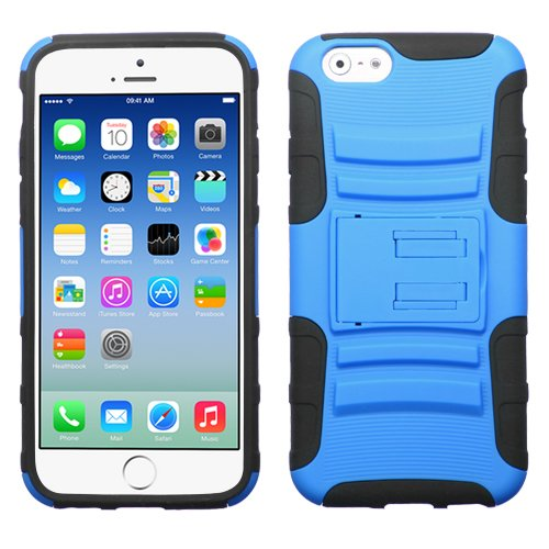 """MEGATRONIC Black and Light Blue Advanced Armor Kick Stand Two Piece Hard Protector Case Cover Skin for Apple iPhone 6 4.7 4.7"""" 6th Generation W/ Free Stylus"""