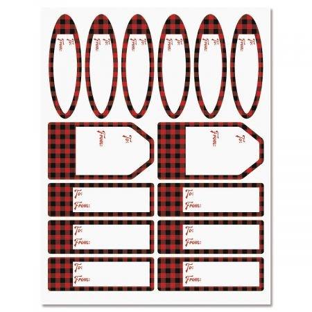Buffalo Plaid Labels - Set of 42