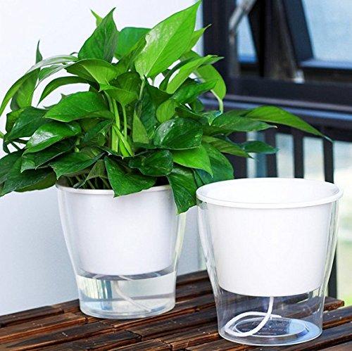 Lazy Automatische Saugnapf Blumentöpfe, für Ihren Garten Pflanzen weiß Farbe, W05 (L13*H15cm)