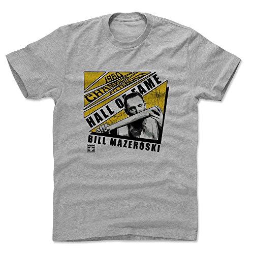 500 LEVEL Bill Mazeroski Cotton Shirt (X-Large, Heather Gray) - Pittsburgh Pirates Men's Apparel - Bill Mazeroski Chopped Y