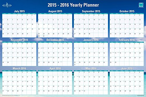 Blue Sky 2015-2016 Academic Year and 2016 Regular Year Laminated Erasable Calendar Planner, Endless Summer Collection, 36 x 24 Inches (16691)