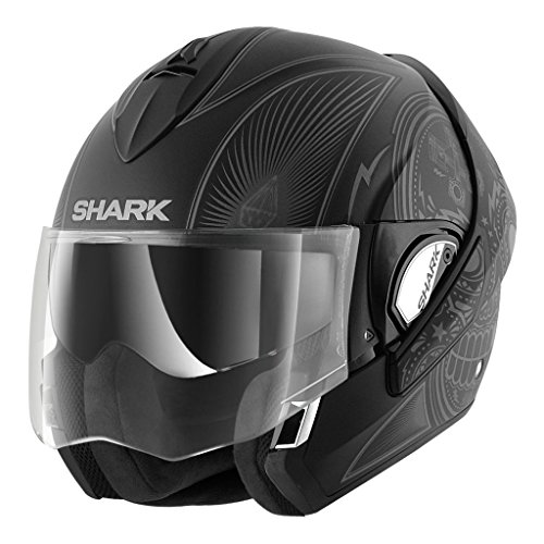 (Shark Unisex-Adult Full Face Evoline 3 Mezcal Helmet (Matte Black Gray, Large))