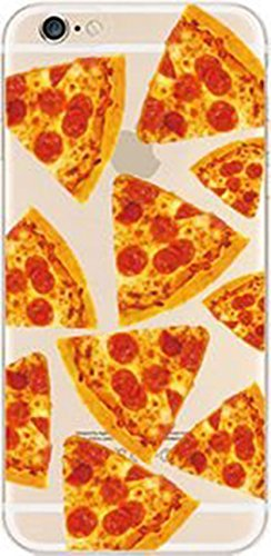 (iPhone 6 Plus / 6s Plus Compatible, Colorful Rubber Flexible Silicone Case Bumper Clear Cover Case - Yummy Cheese Pizza Overload)