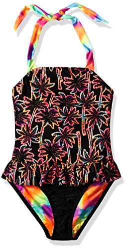 Angel Beach Big Girls' One Piece Swimsuit with Twin Print, Black neon Palm Trees, 7 (Palm Logo Trees Two)