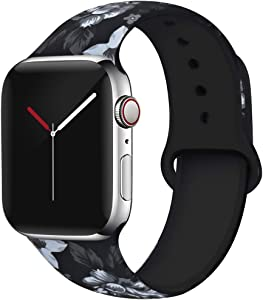 OriBear Compatible with Apple Watch Band 40mm 38mm Elegant Floral Bands for Women Soft Silicone Solid Pattern Printed Replacement Strap Band for Iwatch Series 4/3/2/1 S/M Delicate Flower