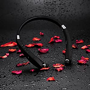 [Newest Design] Wireless Bluetooth 4.1 Headset, Retractable and Foldable Neckband Style Headphones.(Black)