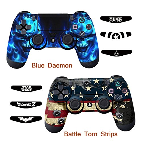 Skins for ps4 controller decals for playstation 4 games 4 games stickers cover for ps4 slim sony play station four controllers pro ps4 accessories ps4 remote wireless dualshock 4 flag daemon 6 light bar aloadofball