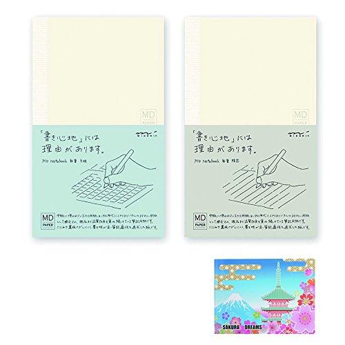 MD Notebook B6 Slim Bundle Set , MD Notebook B6 Slim Ruled Lines ( 13802006 ) + MD Notebook B6 Slim Grid ( 15002006 ) + Original 5 Colors Sticky Notes