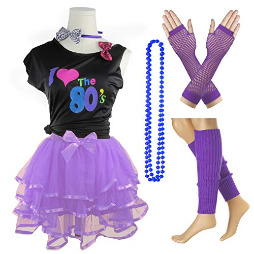 I Love The 80's T-Shirt 1980s Girl Costume Outfit Accessories (Purple, 10-12 Years) -