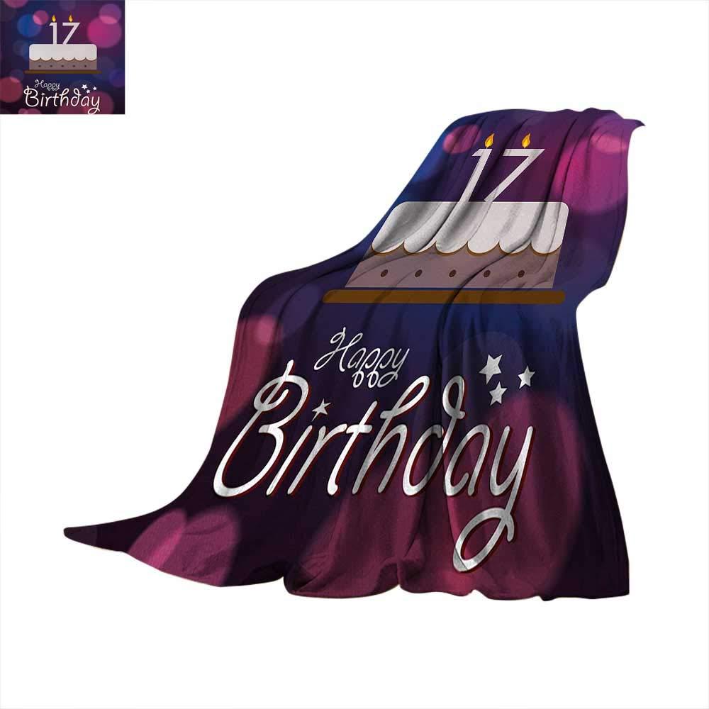 Anhuthree 16歳の誕生日 スーパーソフト 軽量ブランケット テイスティカップケーキ キャンドル ティーンガールズスタイル スイートサプライズ イラスト サマーキルト 掛け布団 フクシア イエロー 60