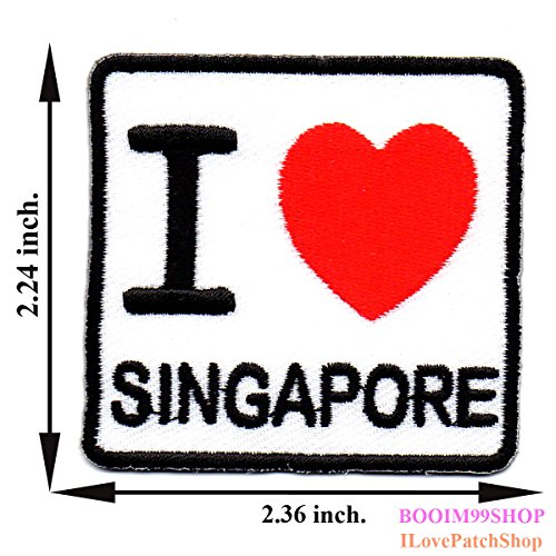 I Love Singapore Nation Flag Symbol Embroidered Applique Iron on Patch T-shirt Cap Jeans Bag