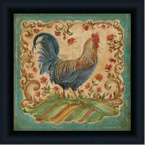 French Country Kitchen Rooster I Decor Print Framed (Pictures Rooster Framed)