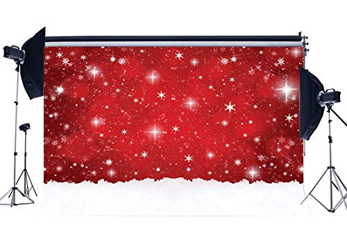 GoEoo Christmas Backdrop 5X3FT Vinyl Xmas Falling Snowflakes Backdrops Red Bokeh Wallpaper Heavy Snow Winter Wonderland Photography Background for Happy Year Eve 2019 Photo Studio Props (Snow Falling Christmas Wallpaper)