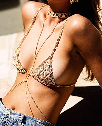 (Sexy Bohemia Body Chain Bra Gold Bikini Harness Shiny Luxury Fashion Necklace Jewelry Boho Rhinestone Hot Beach Summer Birthday Anniversary Festival Gift for Women Lady Girls)