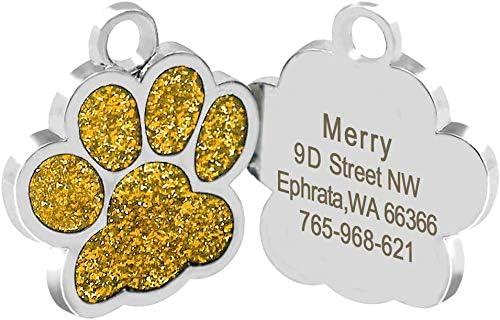 Beirui Placas de identificación Huellas Personalizadas en Acero Inoxidable de 24 mm para Perros y Gatos, con Grabado láser, Oro, S (0.9