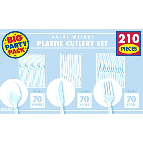 Plastic Cutlery Set (70 Knives, Forks and Spoons) Disposable or Reusable - Amscan Cutlery Utensils