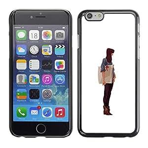 PC/Aluminum Funda Carcasa protectora para Apple Iphone 6 Art Girl Artist Paper Drawing Painting Brunet / JUSTGO PHONE PROTECTOR