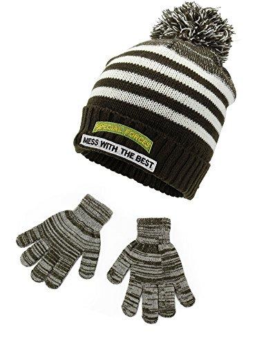 Polar Wear Boys Knit Beanie Hat with Patch & Gloves