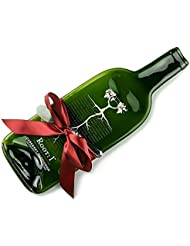 Root:1 Cabernet Sauvignon Melted Wine Bottle Cheese Tray with Cheese Spreader, Recycled Glass