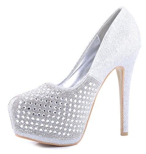 Plateado Brillantes Tachonado de Diamantes Zapatos de Plataforma Talones de Novia Zapatos de la Boda