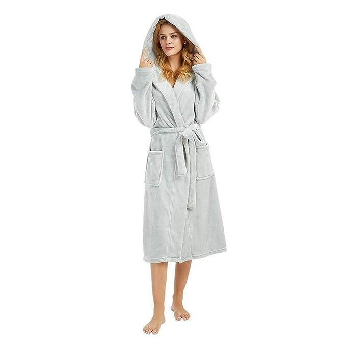 VJGOAL Invierno de Las Mujeres más el tamaño Informal con Capucha Bata Larga cálida de Felpa con Cordones Albornoz Sleepweer Manga Larga Abrigo Pijamas: ...