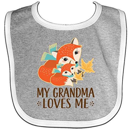 Woodland Heather (Inktastic - Grandma Loves Me Woodland Fox Gift Baby Bib Heather/White 2db24)