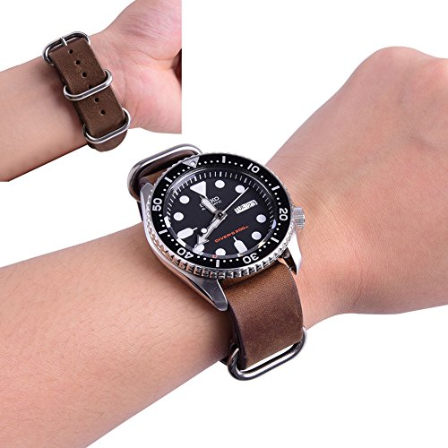 Ritche Genuine Leather NATO strap 20mm Rich Brown Replacement timex weekender watch band Photo #5
