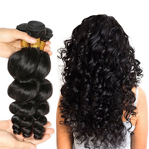 JINREN (TM) Brazilian Virgin Hair Loose Wave Hair Weave 3 Bundles 300g Unprocessed Loose Deep Wave Virgin Human Hair Weave Natural Black 10-28inch (10inch 10inch 10inch) ()