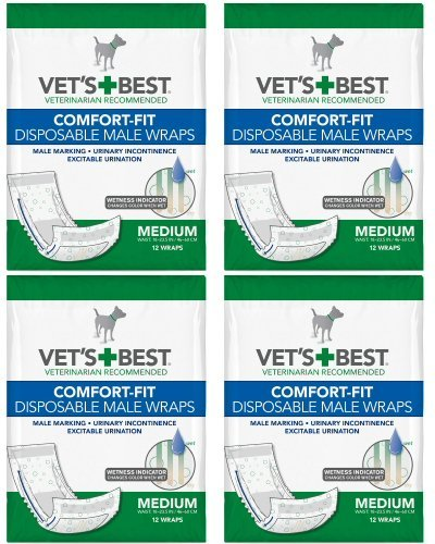 Vet's Best Comfort-fit Disposable Male Wrap, Medium 48 Wraps (12 x 4 Count)