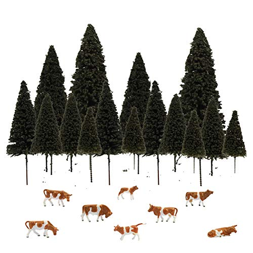 S0404 15pcs Dark Green Pine Model Cedar Trees and 8pcs Model Cows for Model Railroad Scenery Landscape Layout HO OO Scale New