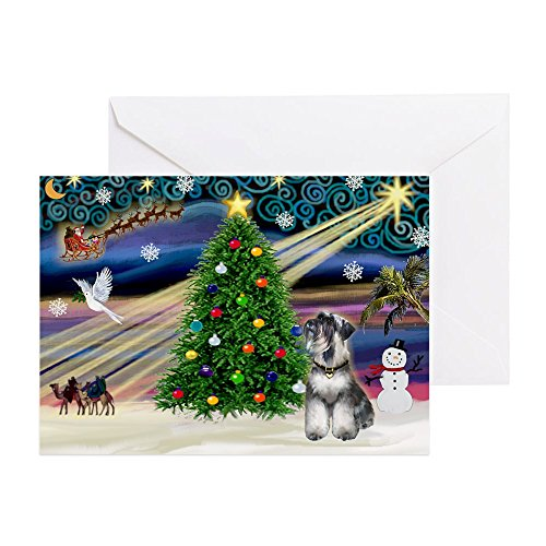 CafePress - Xmas Magic-Schnauzer (Nat) Greeting Cards (Pk Of - Greeting Card (10-pack), Note Card with Blank Inside, Birthday Card Matte