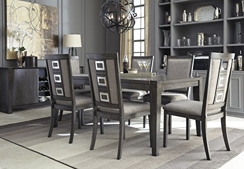 Chedoni Formal Wood Gray Color Dining Room Set: Rectangle Extension Table With 6 Chairs