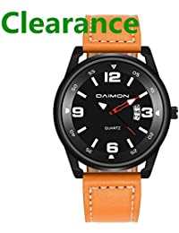 Men's Watch with Black Face Leather Strap Business Watch for Men