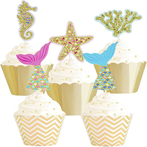 Betop House Set of 25 Pieces Under the Sea Mermaid Tail Sea Star Starfish Seahorse Coral Themed Party Kids Birthday Baby Shower Cake and Cupcake Decorative Topper Party Supplies by BETOP HOUSE
