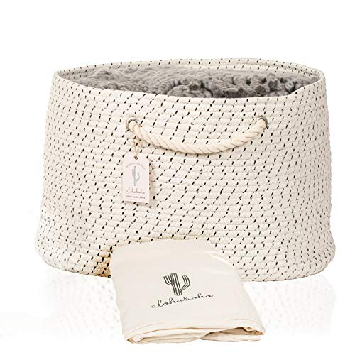 - XXL Extra Large Cotton Rope Basket with Exclusive Laundry Bag: Wide Storage Organizer for Living Room, Blankets, Sofa Throws, Nursery, Baby Kids Toys, Playroom: 20