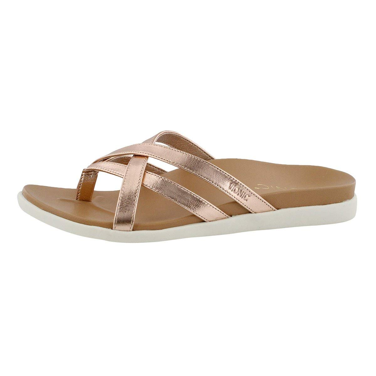Mtlc rsgld Vionic Women's Palm Daisy Arch Support Thong Sandal