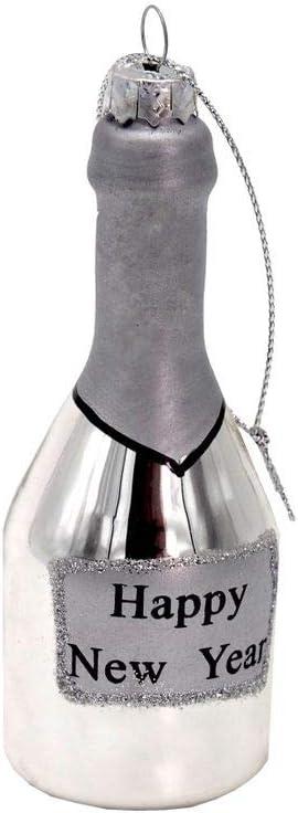 Unbekannt Anh/änger Glas Sektflasche Champagner Silber Christbaumschmuck Weihnachtsbaumschmuck Weihnachten Silvester Party