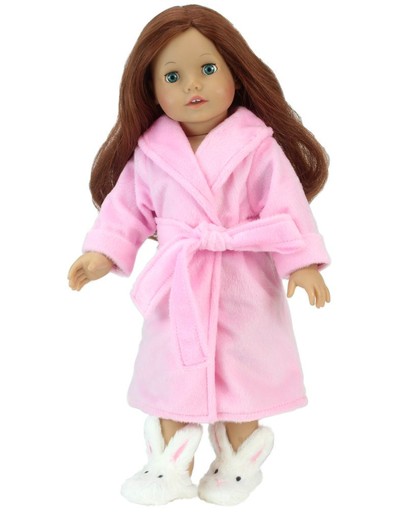 18 Inch Dolls Pink Robe and Bunny Slippers Set by Sophia's