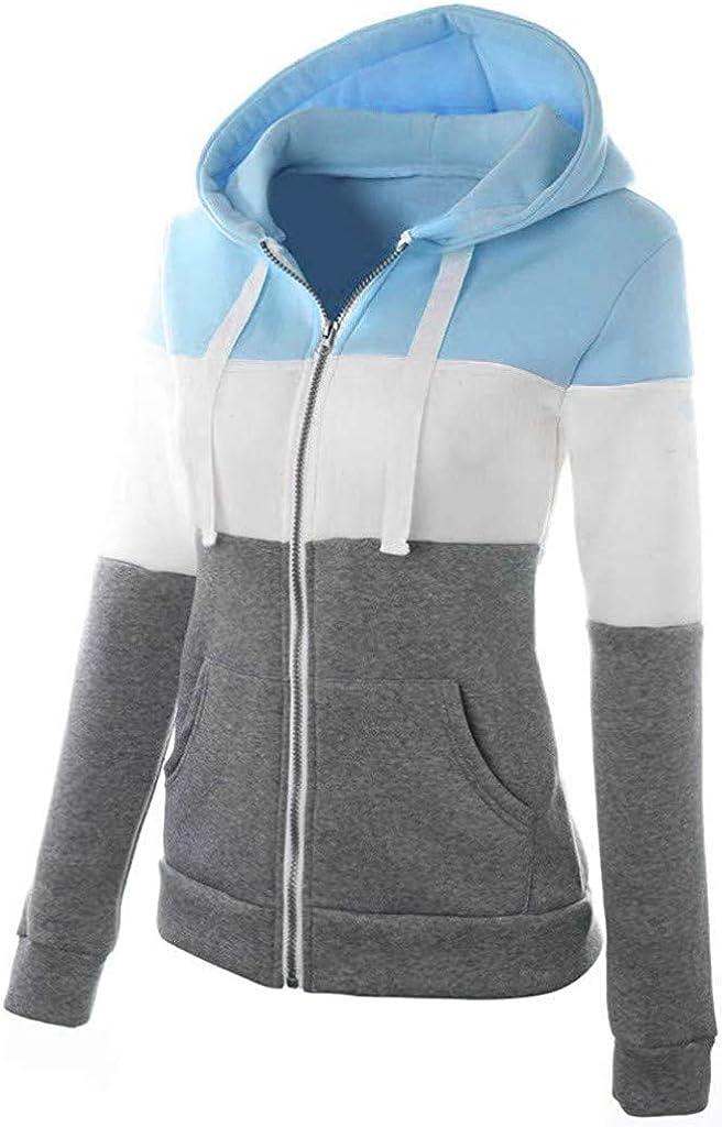 TOTOD Sweatshirts for Women Womens Oblique Zipper Slim Fit Hoodie Jacket Long Sleeve Blouse Coat Outwear