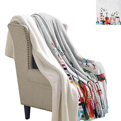 Suchashome Music for Bed/Couch/Chair in Livingroom or Bedroom Colorful Musical Instruments Keyboard Guitar Banjo Trumpet Cello and Flying Birds Berber Fleece Blanket 60x32 Inch -