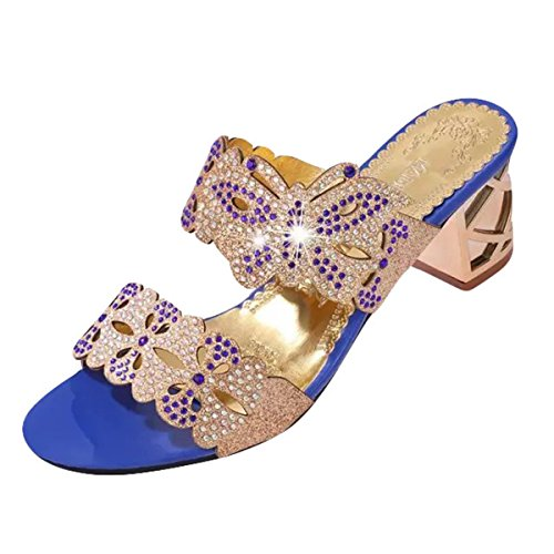 ZOMUSAR Clearance! Sandals Slippers, Women Fashion Sandals Flip Flop Rhinestone Wedges Crystal High Heels Shoes (US:6.5, Blue ❤️) (Blue Leather 6.5 Faux)