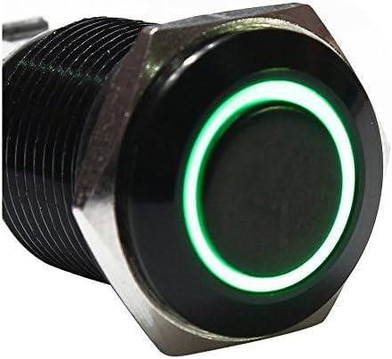 R noir + vert Interrupteur SODIAL 12V Commutateur de bouton poussoir oeil dange en metal LED Interrupteur a verrouillage lumineux de voiture 16mm