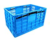 Garen Storage Crate / Collapsible, Heavy Duty Plastic construction, Industrial Strength 17.5 Gallon / 66 liter XL size