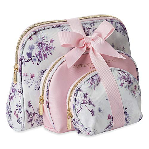 Adrienne Vittadini Cosmetic Makeup Bags Compact Travel Toiletry Bag Set in Small, Medium and Large for Women and Girls – Floral Pink