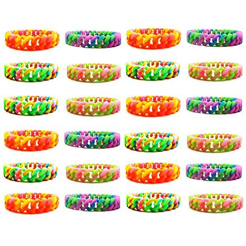 - Party Favor Bracelets for Kids Teen Girls Women - 24 Pieces Silicone Chain Bracelets Set - Party Supplies -Great Gifts for Girls - Fashion Jewelry Accessories (24 pcs - Silicone Chain Bracelets ½