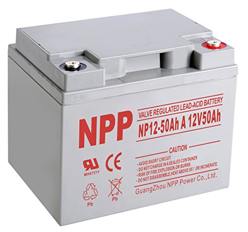 NPP 12V 50Ah Rechargeable AGM SLA Sealed Lead Acid Scooter Wheelchair Battery With Button Style Terminals