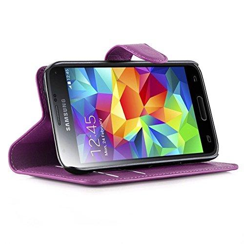 Cadorabo - Funda Samsung Galaxy S5 MINI (SM-G800F) Book Style de Cuero Sintético en Diseño Libro - Etui Case Cover Carcasa Caja Protección (con función de suporte y tarjetero) en AZUL-PASTEL VIOLETA-DE-MANGANESO