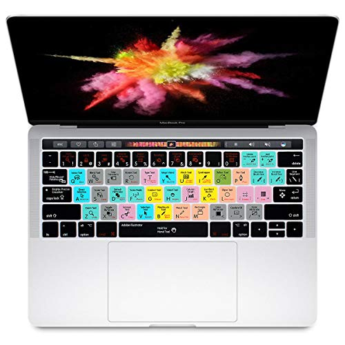 HRH Adobe Illustrator AI Shortcuts Hotkey Silicone Keyboard Cover Skin for MacBook New Pro with Touch Bar 13 Inch and 15 Inch(A2159/A1989/A1706,A1990/A1707) 2019 2018 2016 2017 Release US Version