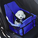 easyU Pet Car Seat Puppy Travel Carrier Clip-On Dog Booster Seat with Seat Belt Tether (Blue)